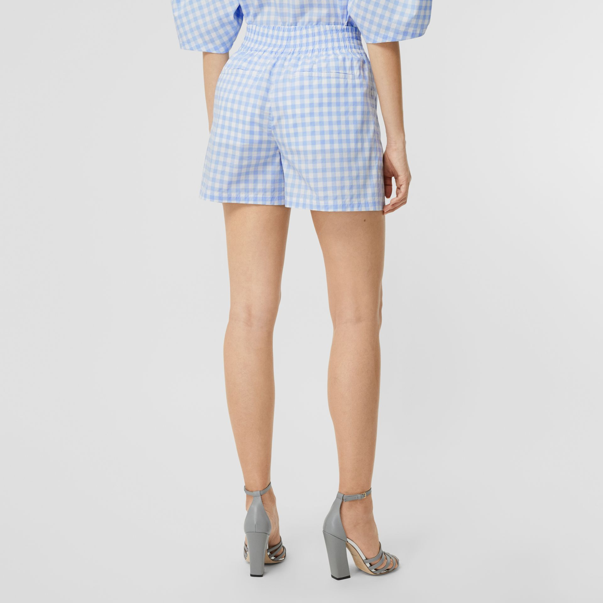 Gingham Cotton Shorts in Pale Blue - Women | Burberry - gallery image 2