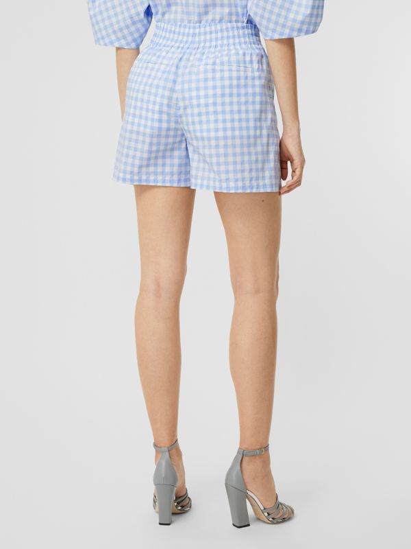 Gingham Cotton Shorts in Pale Blue - Women | Burberry - cell image 2