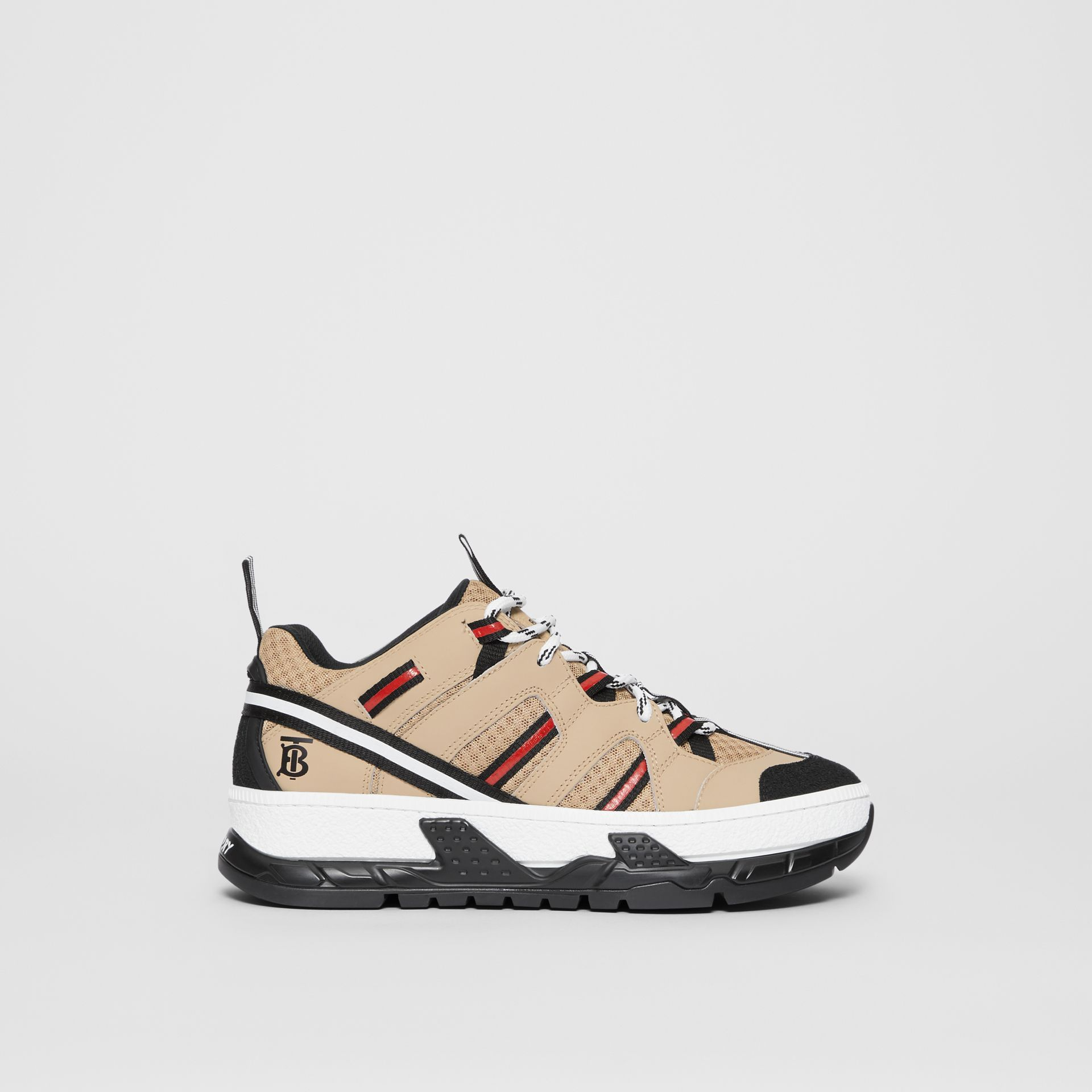Monogram Motif Mesh and Leather Sneakers in Beige - Women | Burberry - gallery image 4