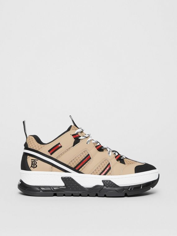 Monogram Motif Mesh and Leather Sneakers in Beige