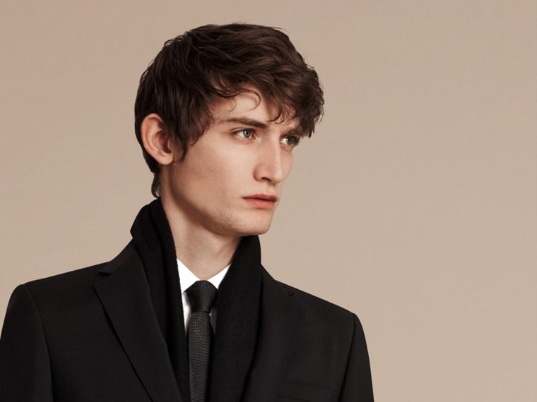 Slim Fit Wool Mohair Part-canvas Suit in Black - Men | Burberry Hong Kong - cell image 4