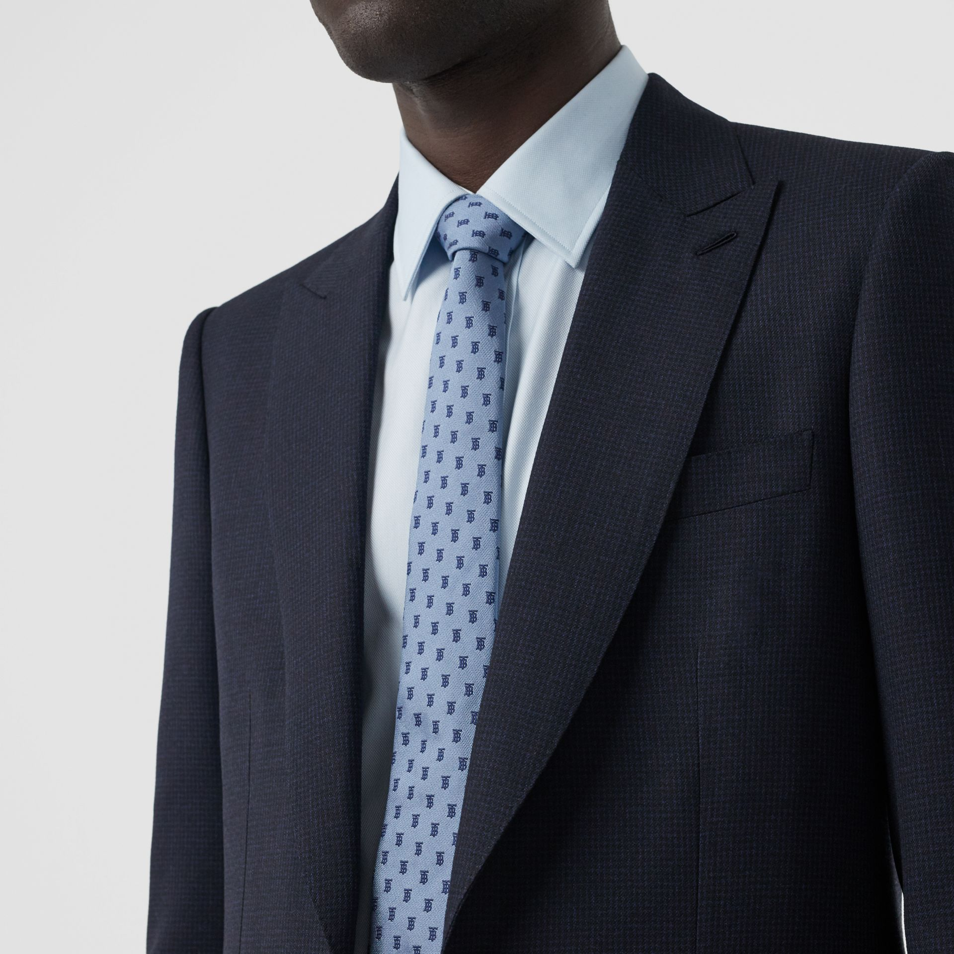English Fit Puppytooth Check Wool Suit in Dark Navy - Men | Burberry - gallery image 1