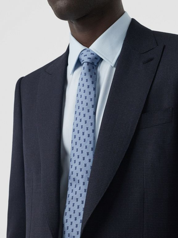 English Fit Puppytooth Check Wool Suit in Dark Navy - Men | Burberry Singapore - cell image 1