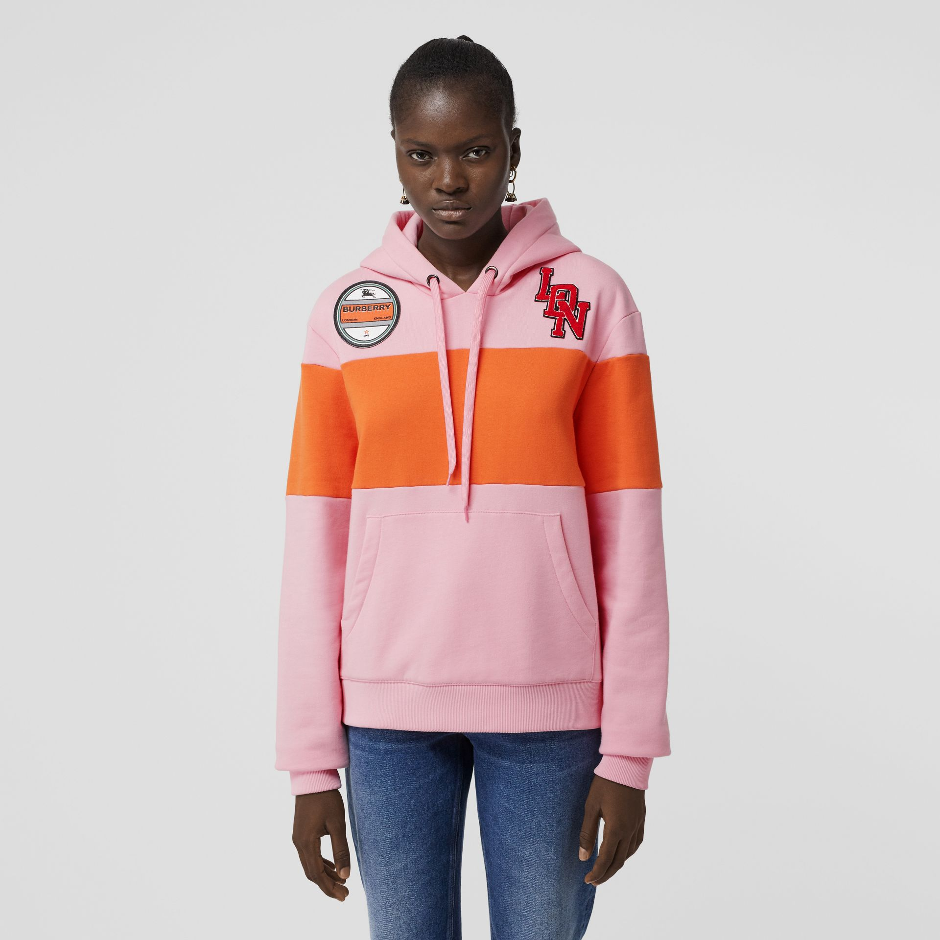 Logo Graphic Panelled Cotton Oversized Hoodie in Candy Pink - Women | Burberry United Kingdom - gallery image 5