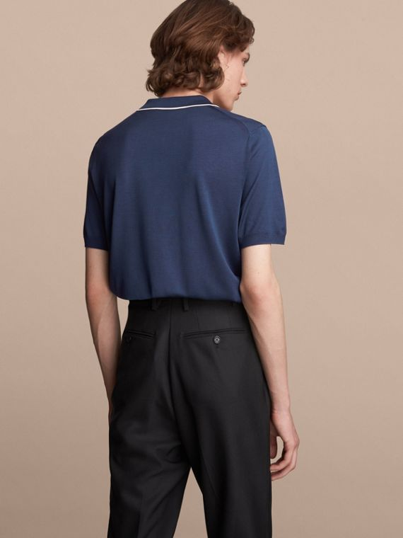 Tipped Detail Knitted Silk Polo Shirt - cell image 2