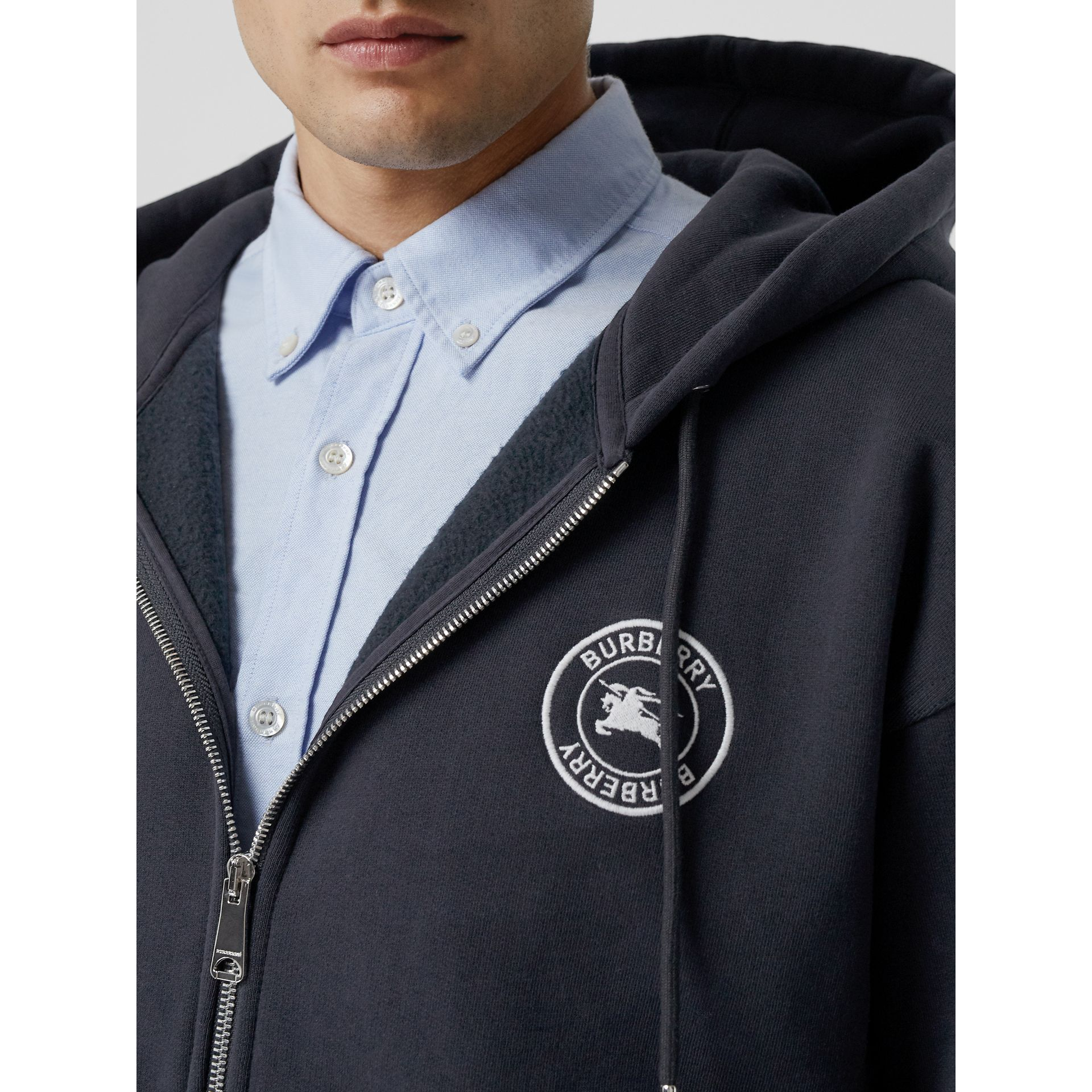 Embroidered Logo Jersey Hooded Top in Navy - Men | Burberry United Kingdom - gallery image 1