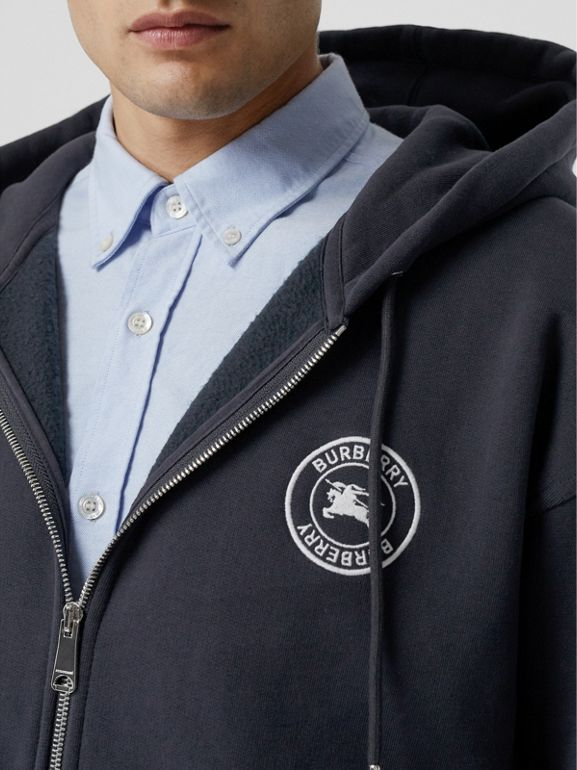 Embroidered Logo Jersey Hooded Top in Navy - Men | Burberry United Kingdom - cell image 1