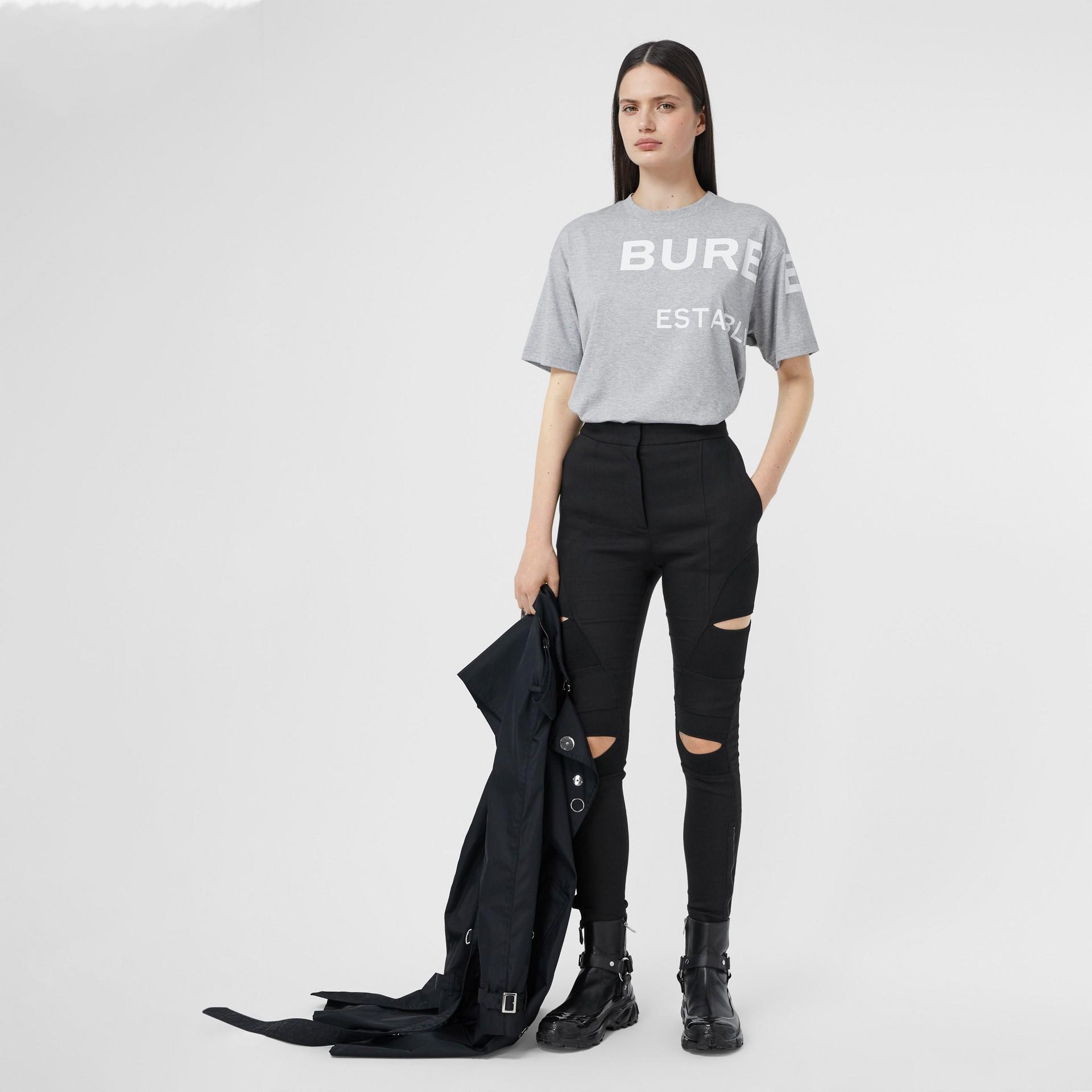 Horseferry 印花棉質寬版 T 恤 (淡混合灰) - 女款 | Burberry - 圖庫照片 0