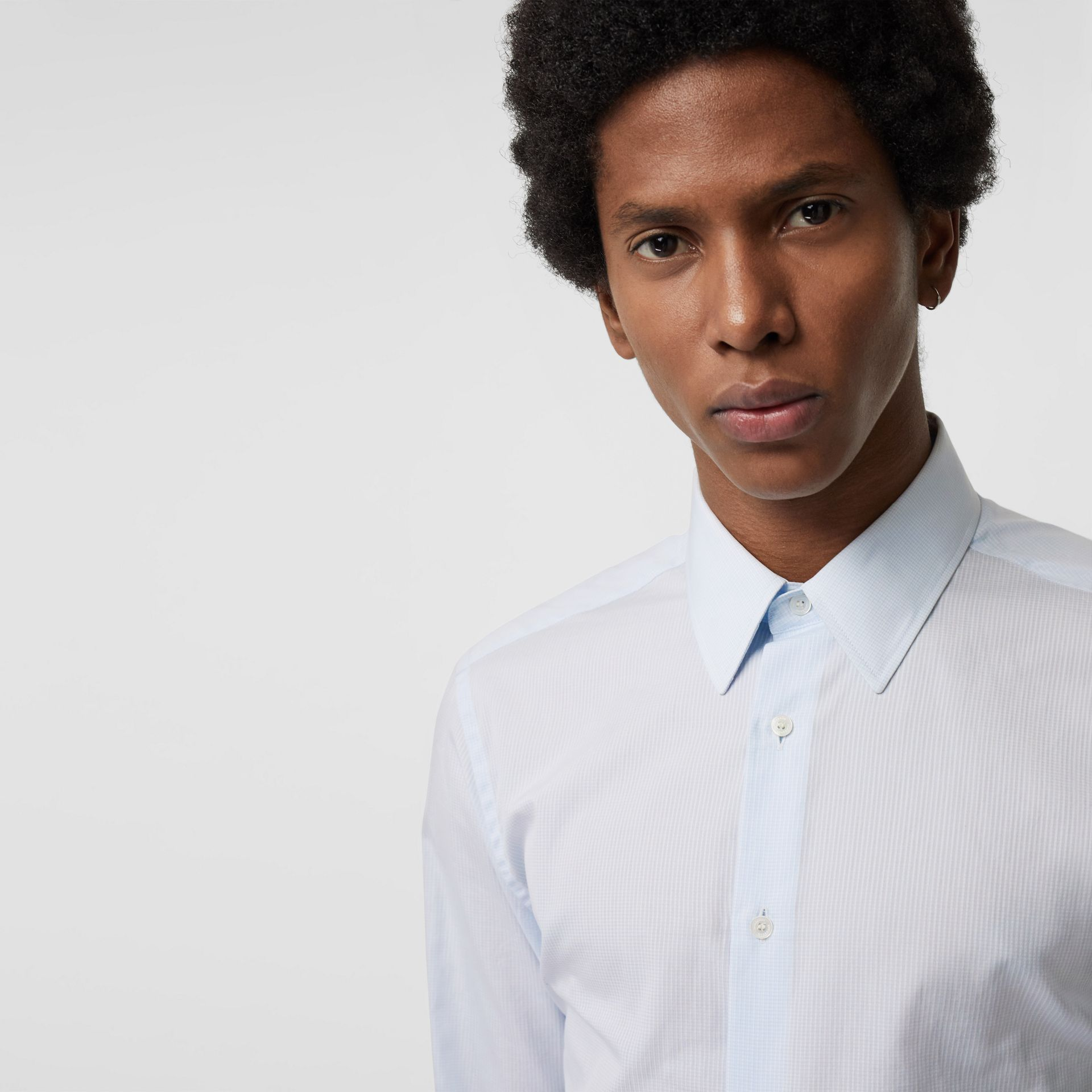 Slim Fit Striped Cotton Poplin Dress Shirt in City Blue - Men | Burberry - gallery image 1