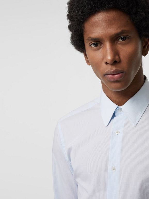 Slim Fit Striped Cotton Poplin Dress Shirt in City Blue - Men | Burberry - cell image 1