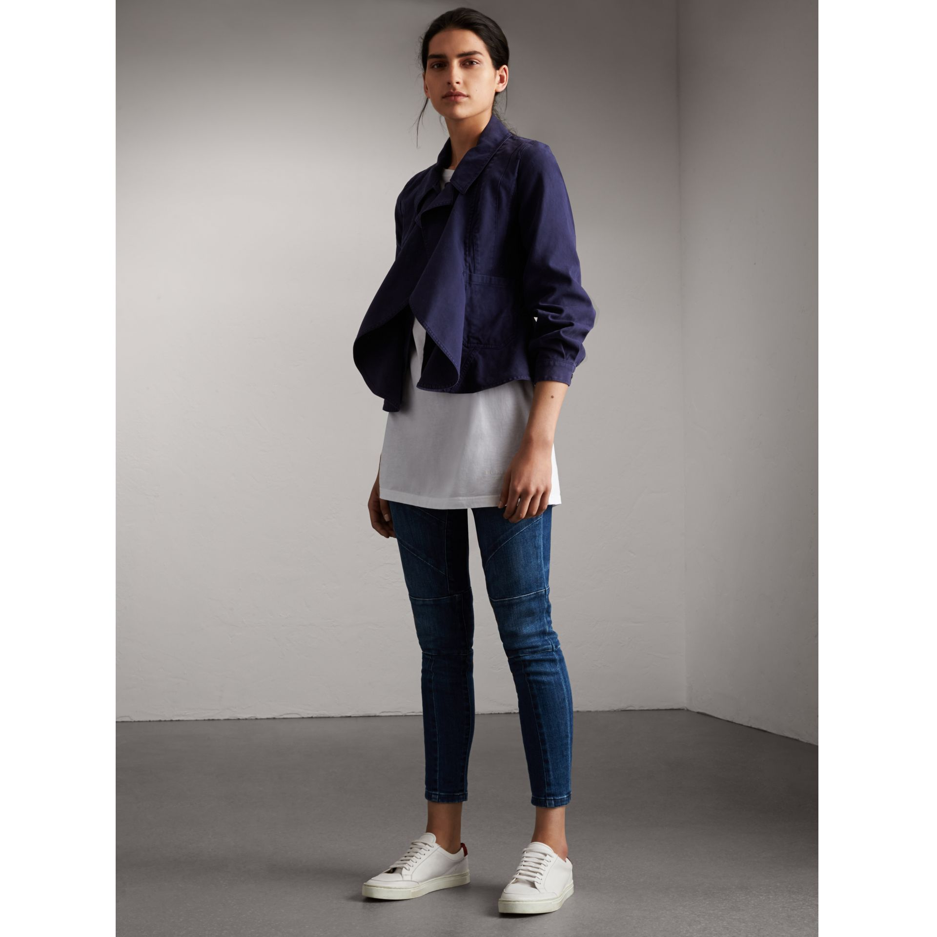 Draped Cotton Utility Jacket in Bright Indigo - Women | Burberry - gallery image 1