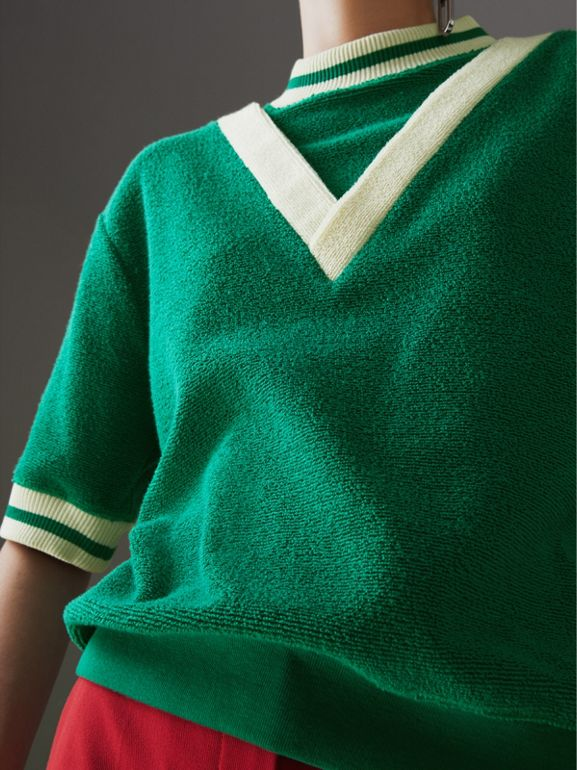Stripe Detail Cotton Terry Top in Fern Green - Women | Burberry Singapore - cell image 1