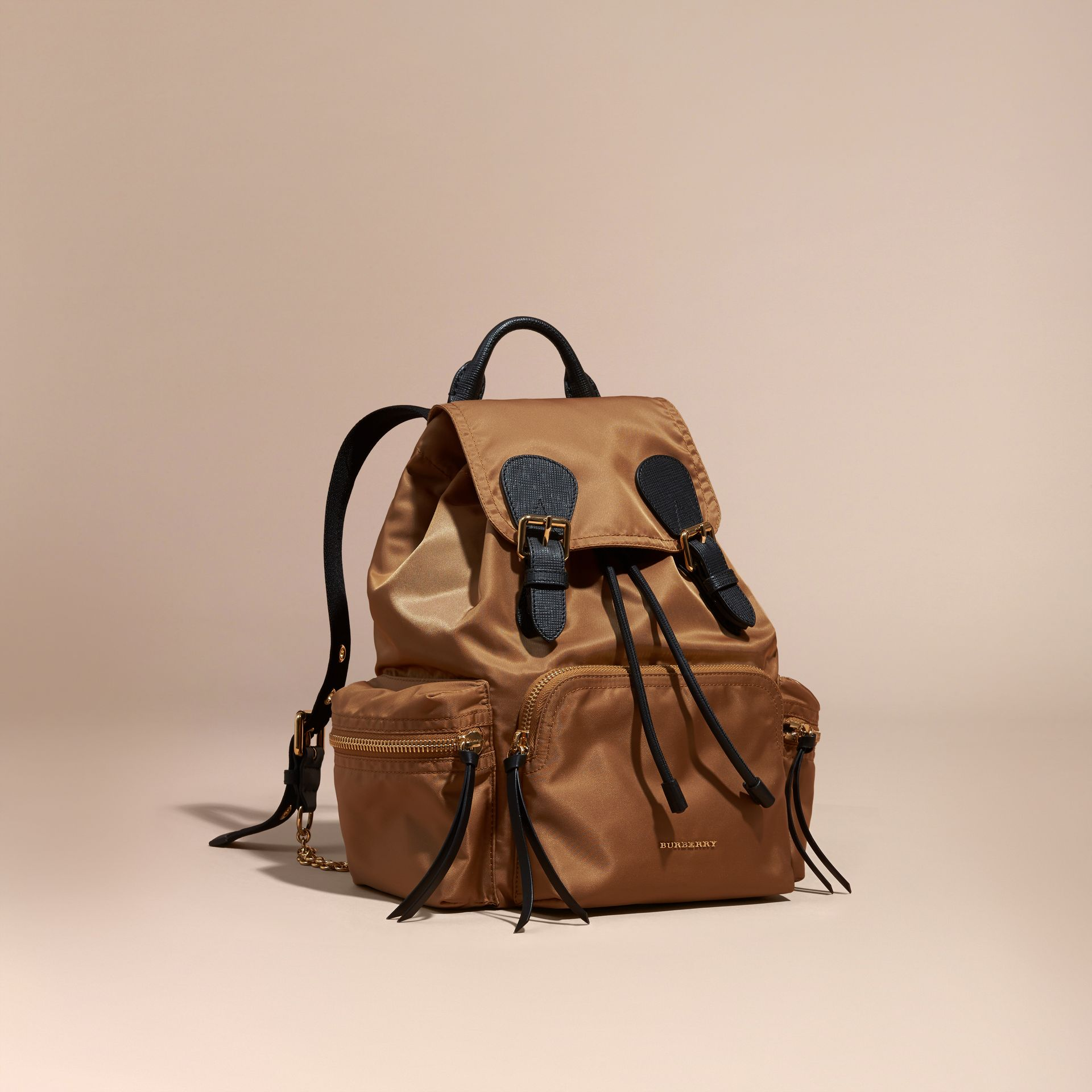 The Medium Rucksack in Technical Nylon and Leather in Light Flax - gallery image 1