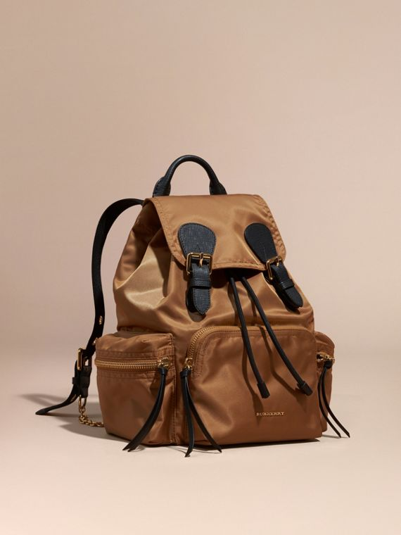 The Medium Rucksack in Technical Nylon and Leather Light Flax