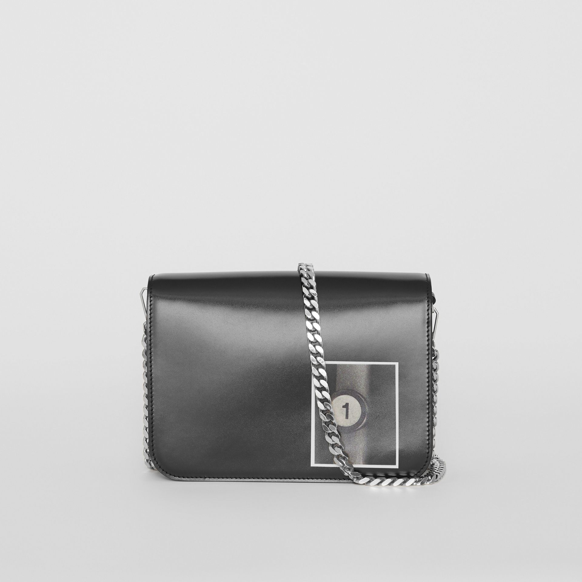 Small Montage Print Leather TB Bag in Black - Women | Burberry - gallery image 7