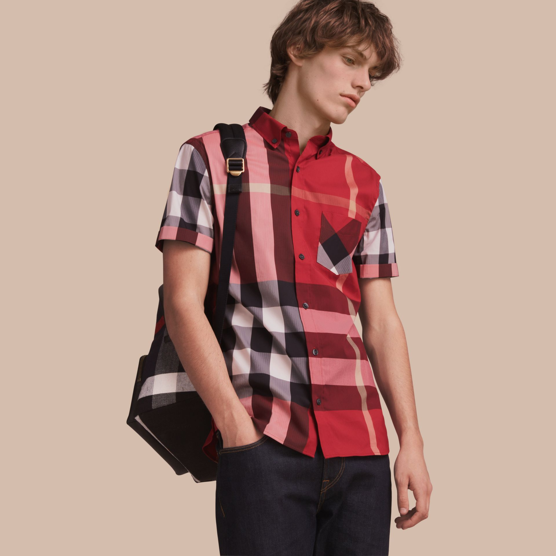 Short-sleeved Check Stretch Cotton Blend Shirt Parade Red - gallery image 1