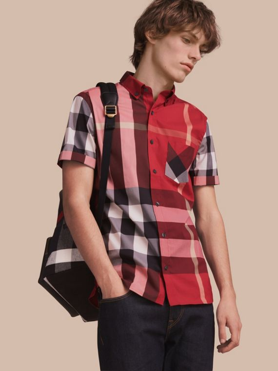 Short-sleeve Check Stretch Cotton Blend Shirt in Parade Red