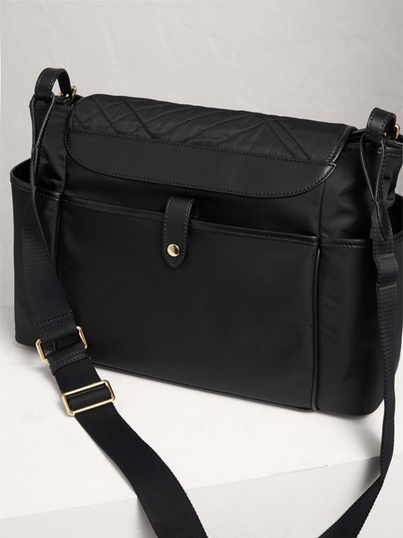 Check-quilted Baby Changing Shoulder Bag in Black | Burberry - cell image 2