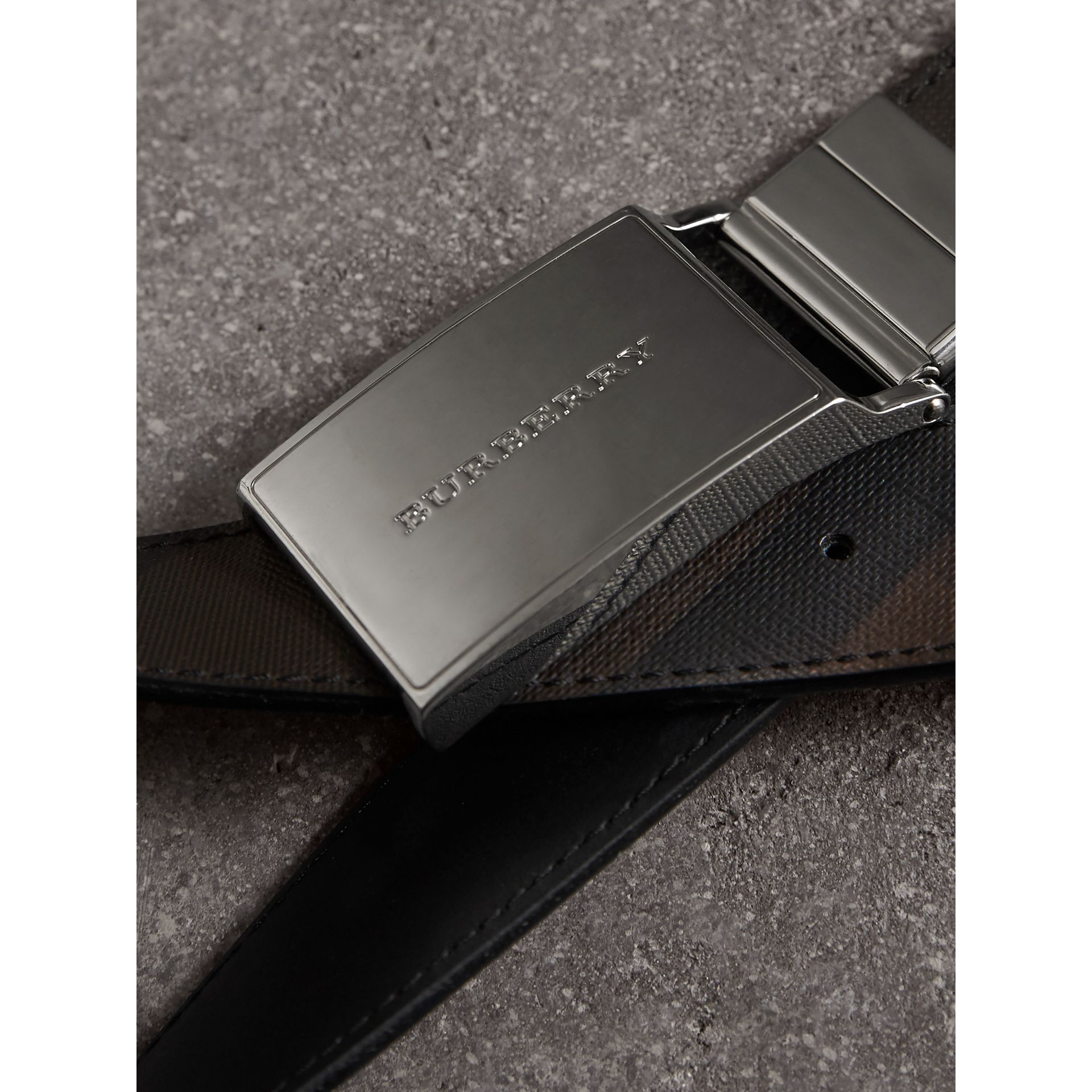 Reversible London Check and Leather Belt in Black - Men | Burberry - gallery image 2