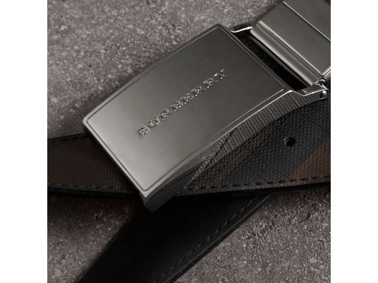 Reversible London Check and Leather Belt in Black - Men | Burberry - cell image 1