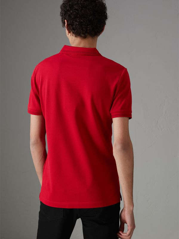 Cotton Piqué Polo Shirt in Military Red - Men | Burberry Australia - cell image 2
