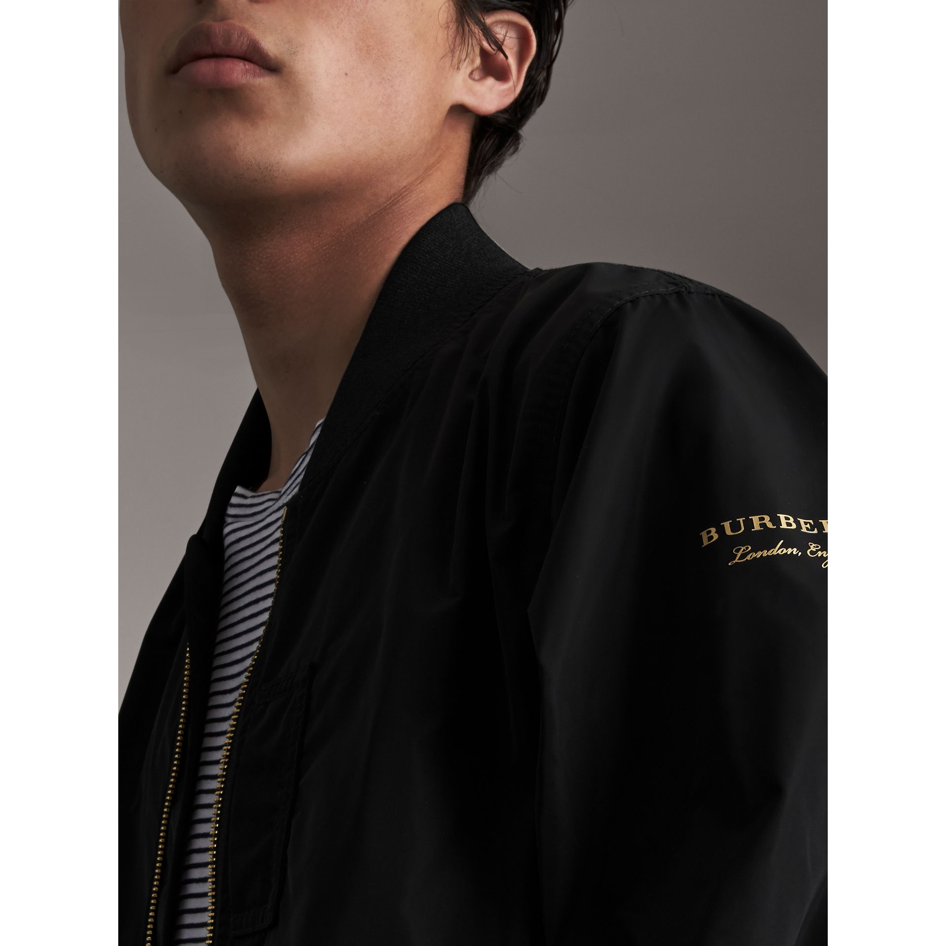 Shape-memory Taffeta Bomber Jacket in Black - Men | Burberry - gallery image 1