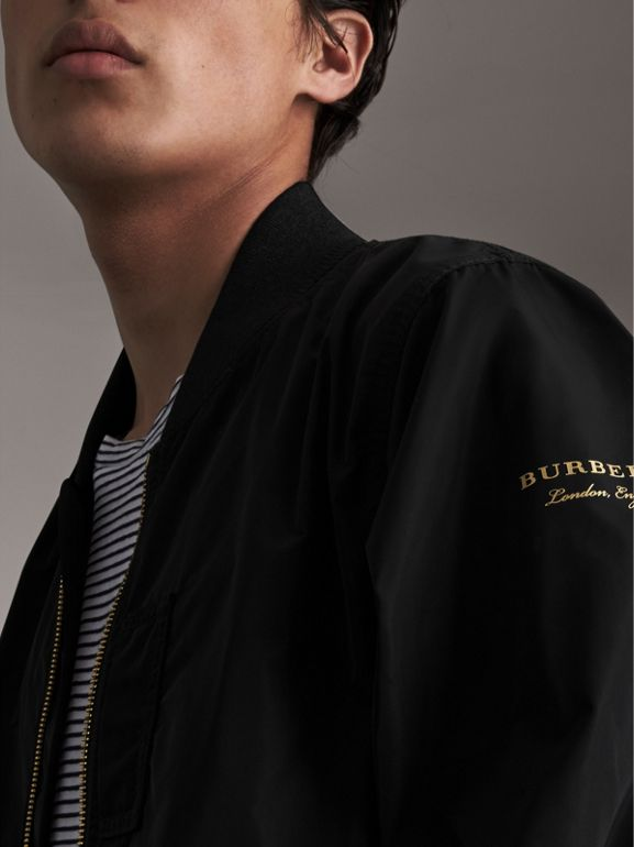 Shape-memory Taffeta Bomber Jacket in Black - Men | Burberry United Kingdom - cell image 1