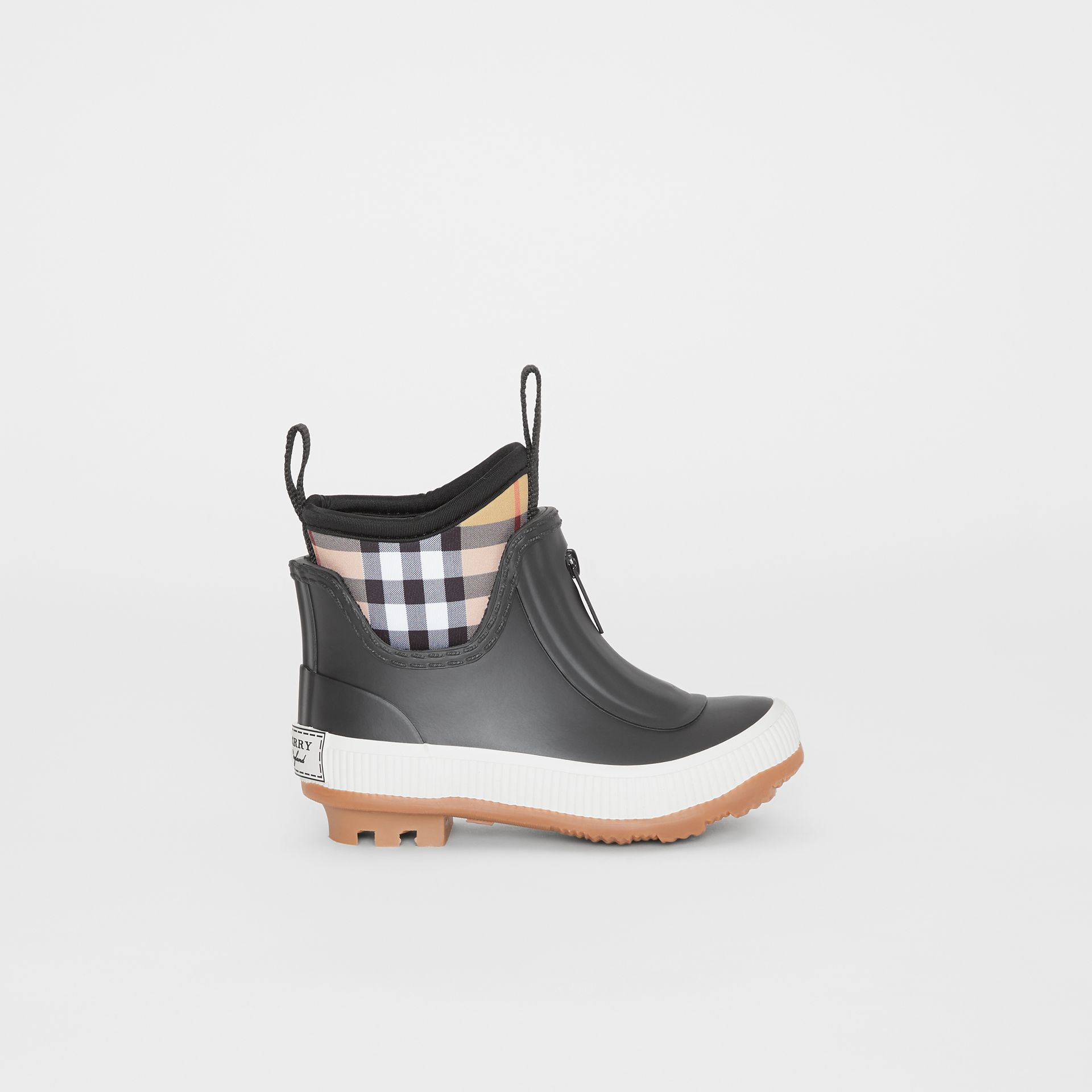 Vintage Check Neoprene and Rubber Rain Boots in Black - Children | Burberry Singapore - gallery image 3