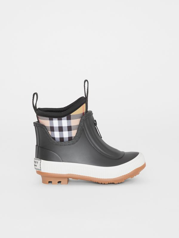 Vintage Check Neoprene and Rubber Rain Boots in Black - Children | Burberry Australia - cell image 3