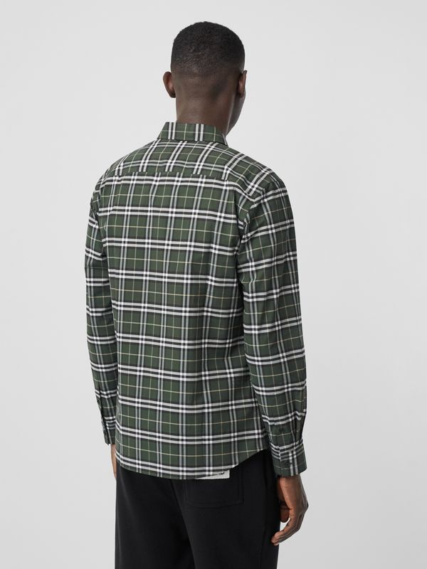 Small Scale Check Stretch Cotton Shirt in Seaweed - Men | Burberry United Kingdom - cell image 2