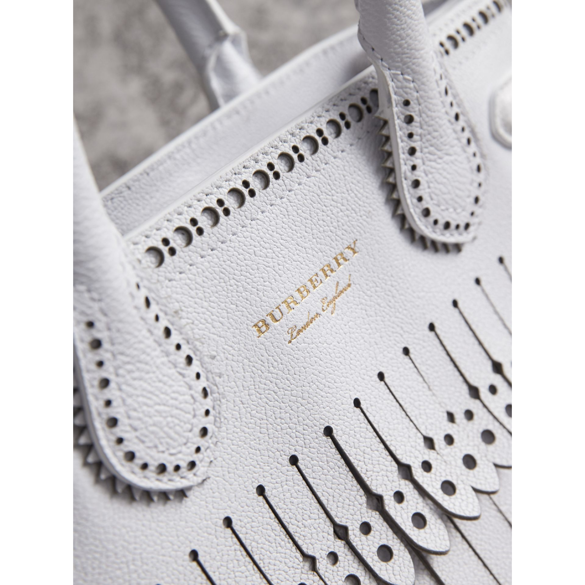 The Small Banner with Brogue Detail in Chalk White - Women | Burberry - gallery image 2