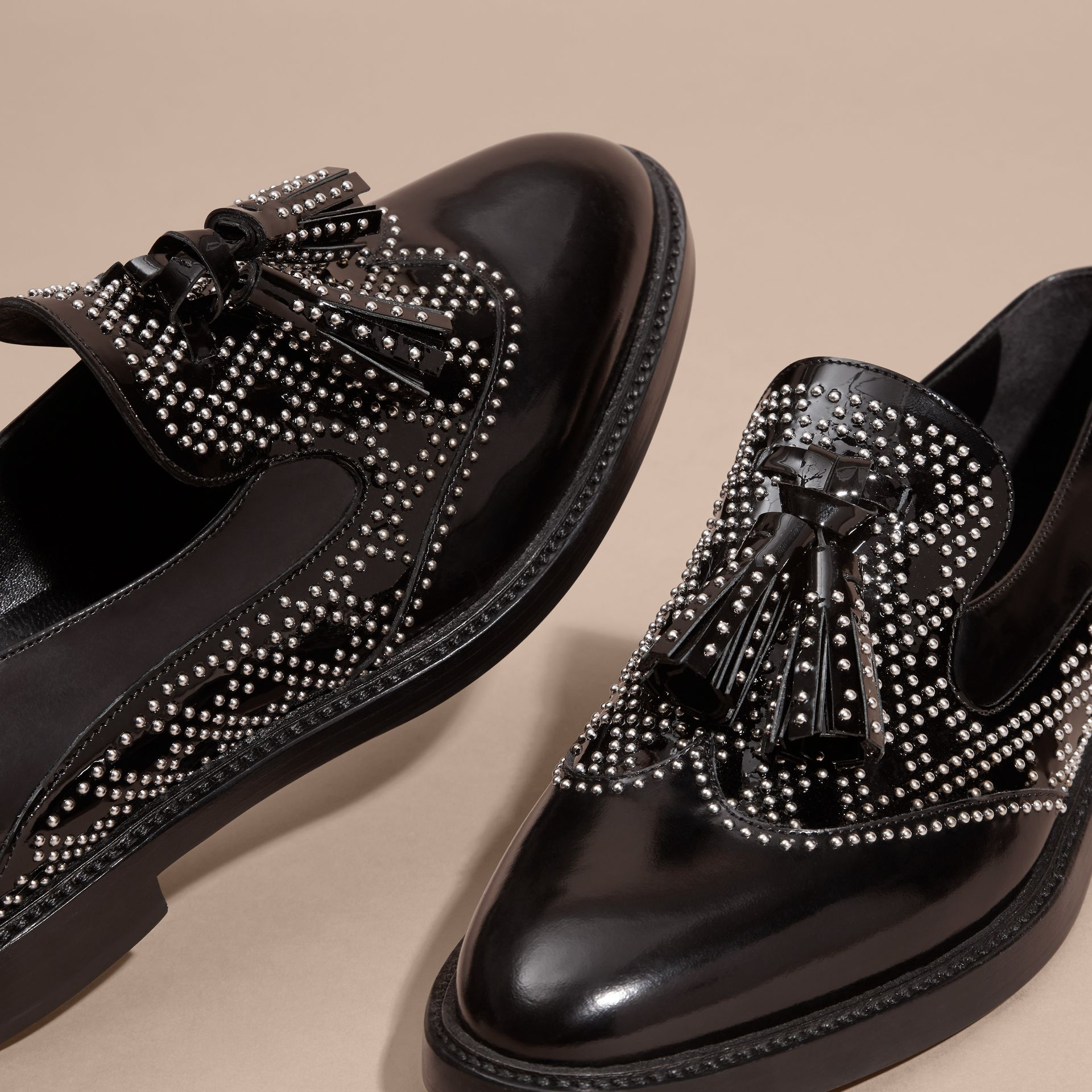 Black Studded Leather Tassel Loafers - gallery image 5