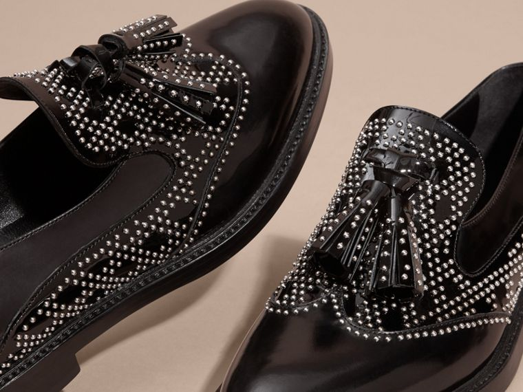 Black Studded Leather Tassel Loafers - cell image 4