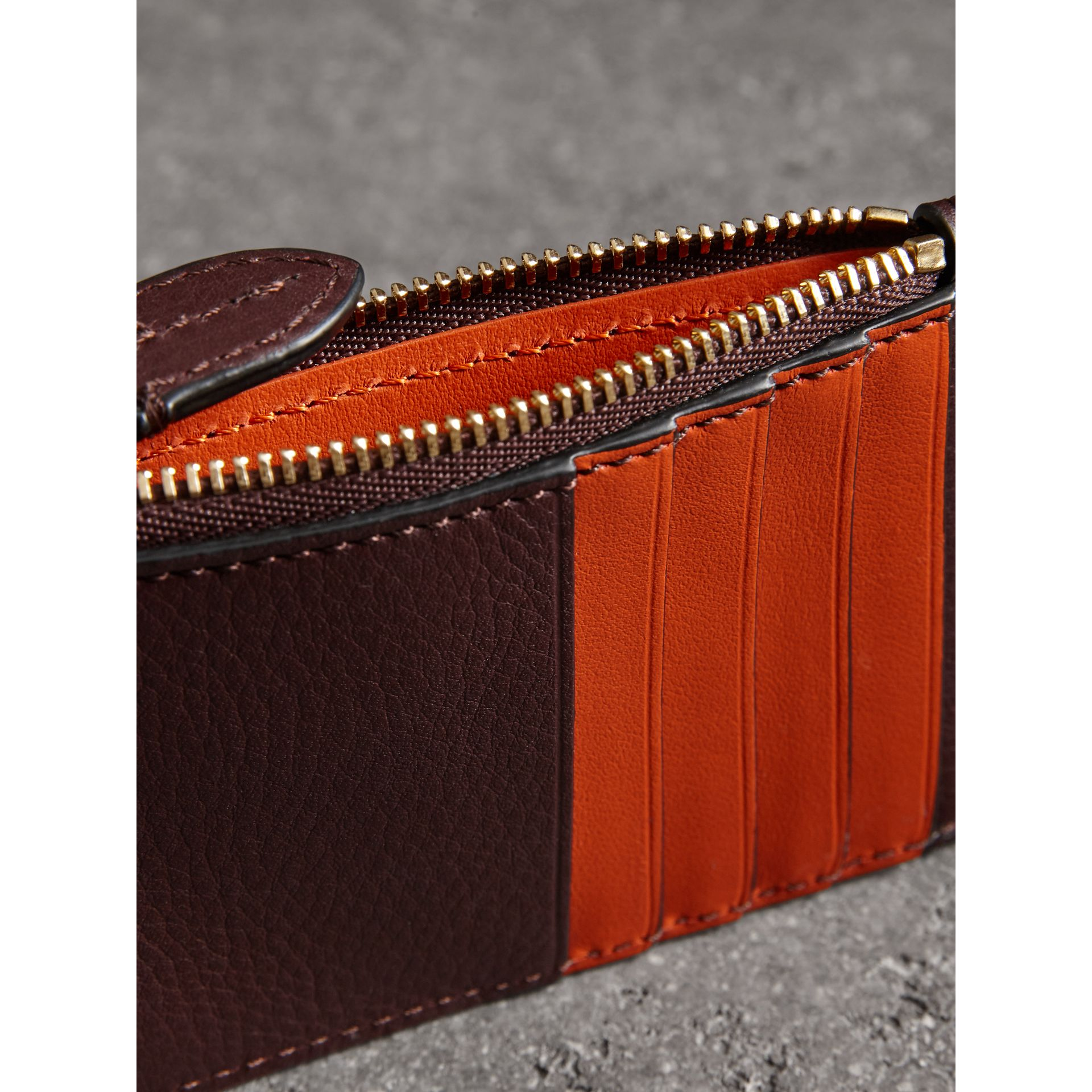 Two-tone Leather Zip Card Case in Deep Claret | Burberry United Kingdom - gallery image 3