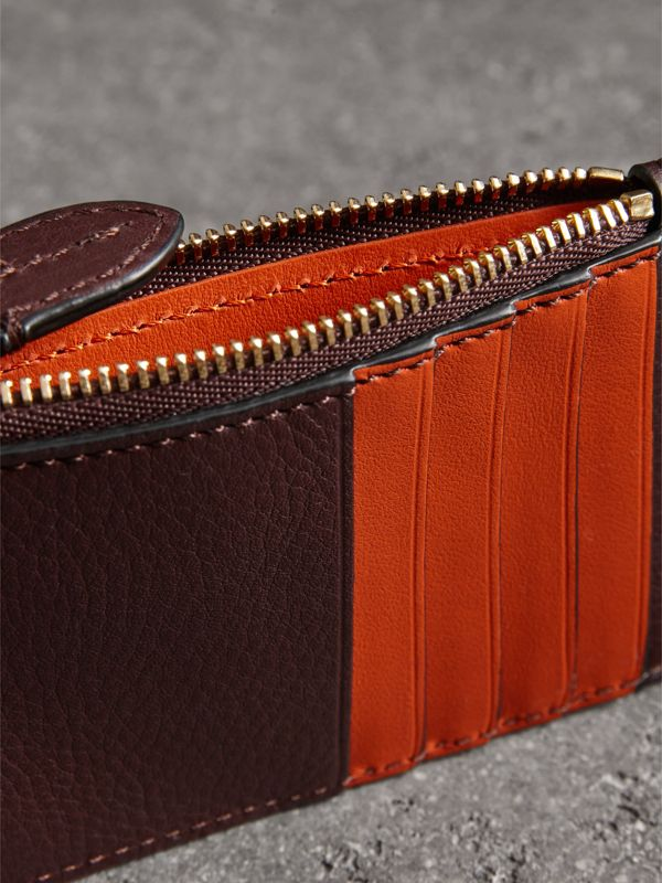 Two-tone Leather Zip Card Case in Deep Claret | Burberry United Kingdom - cell image 3