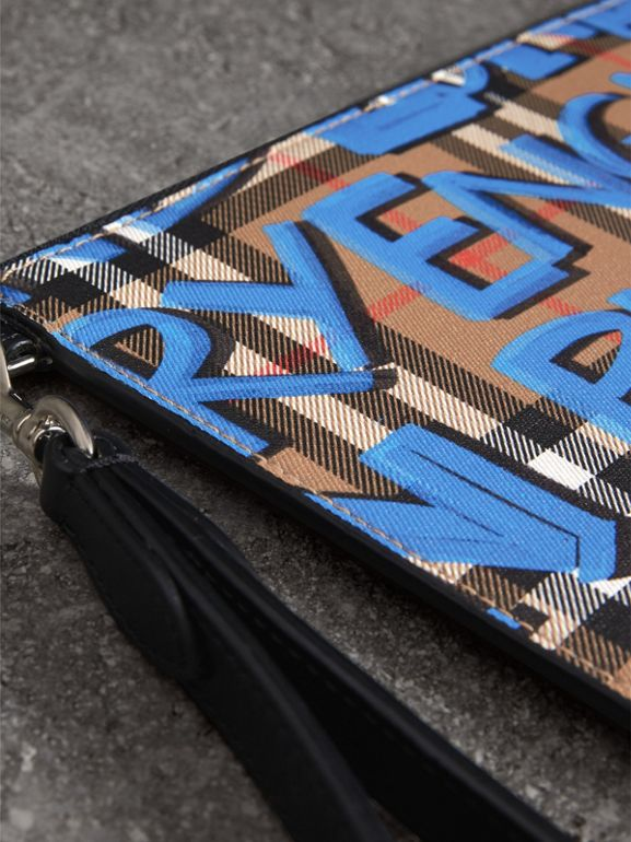 Graffiti Print Vintage Check Leather Zip Pouch in Canvas Blue/antique Yellow | Burberry Singapore - cell image 1