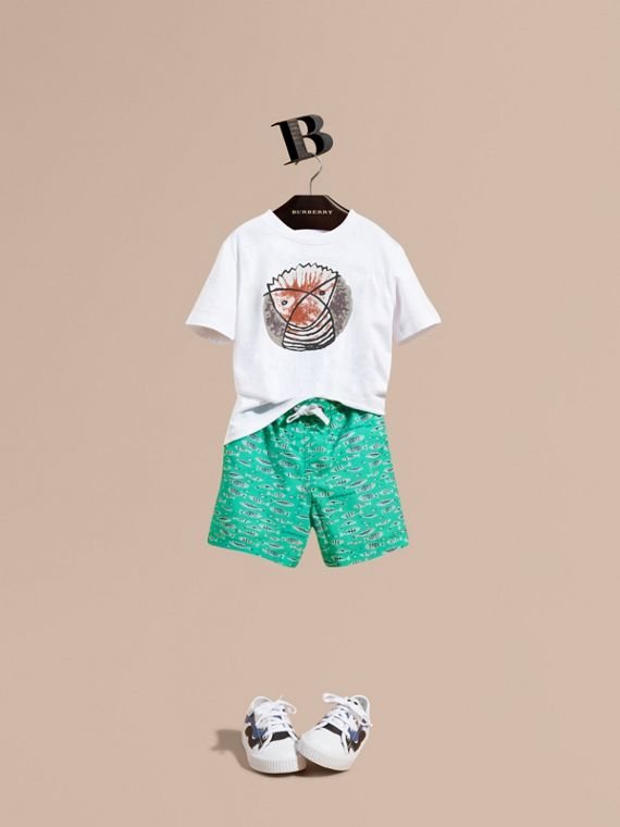Fish Print Swim Shorts - Boy | Burberry