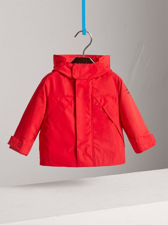 Shape Memory Taffeta Hooded Jacket in Bright Orange Red