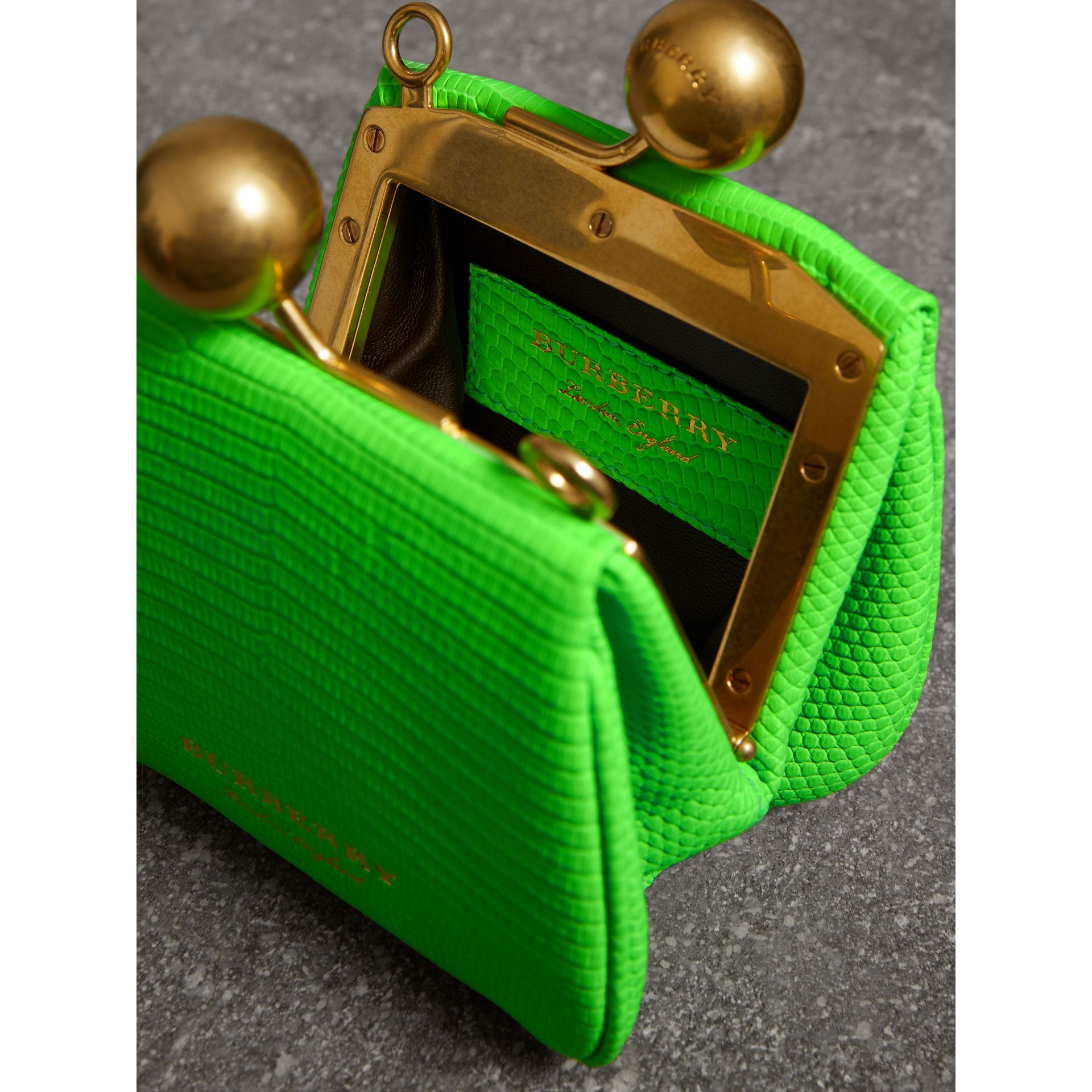 Mini Two-tone Lizard Metal Frame Clutch Bag in Neon Green - Women | Burberry - gallery image 5