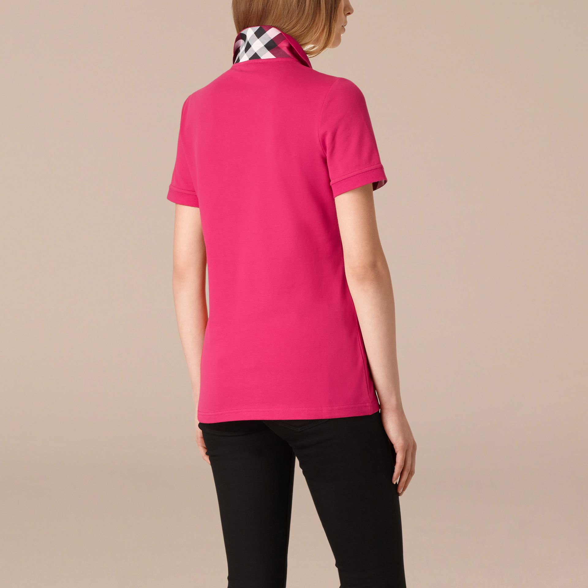 Check Trim Stretch Cotton Piqué Polo Shirt Bright Hibiscus - gallery image 3