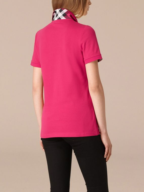 Check Trim Stretch Cotton Piqué Polo Shirt Bright Hibiscus - cell image 2