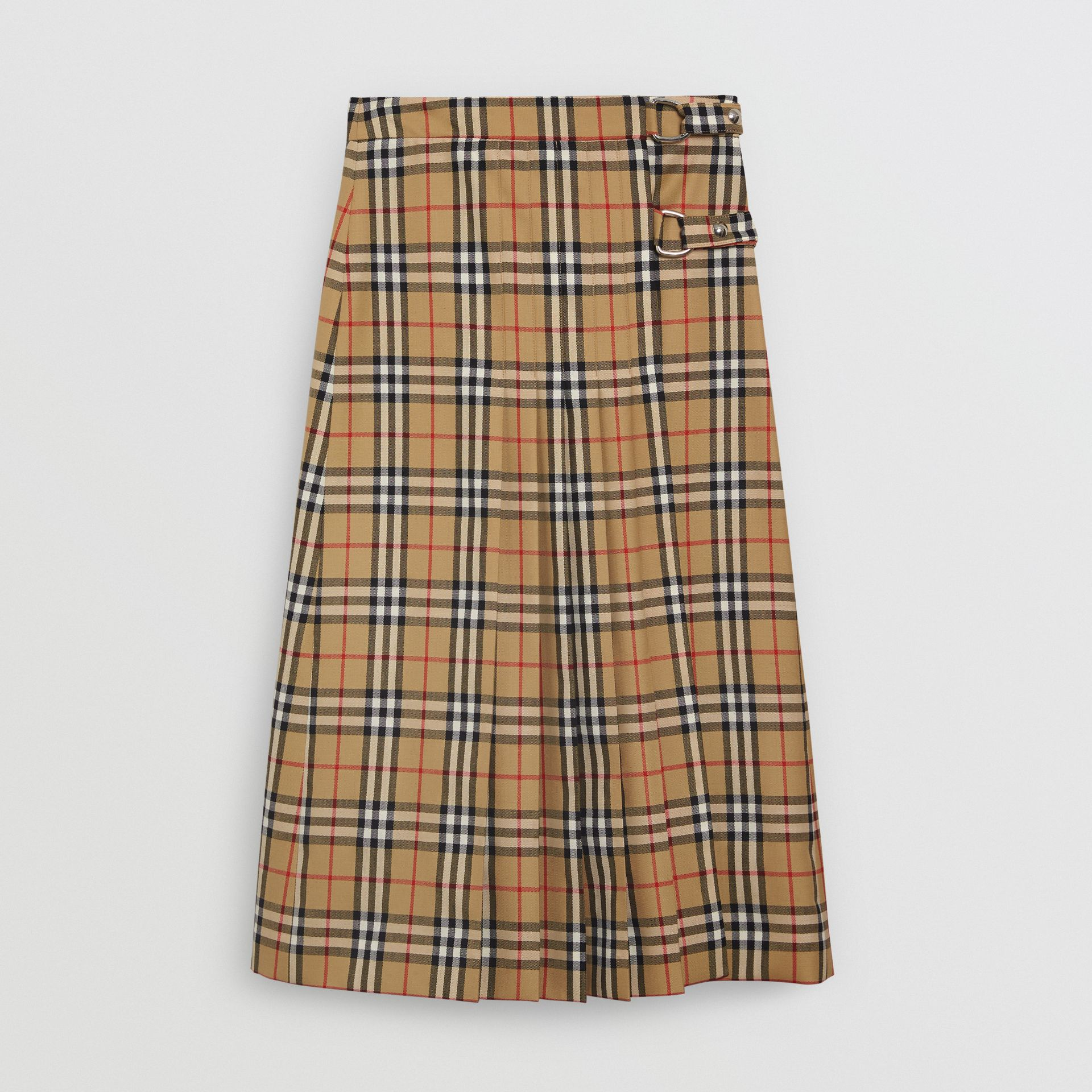 Vintage Check Wool Kilt in Antique Yellow - Women | Burberry - gallery image 3