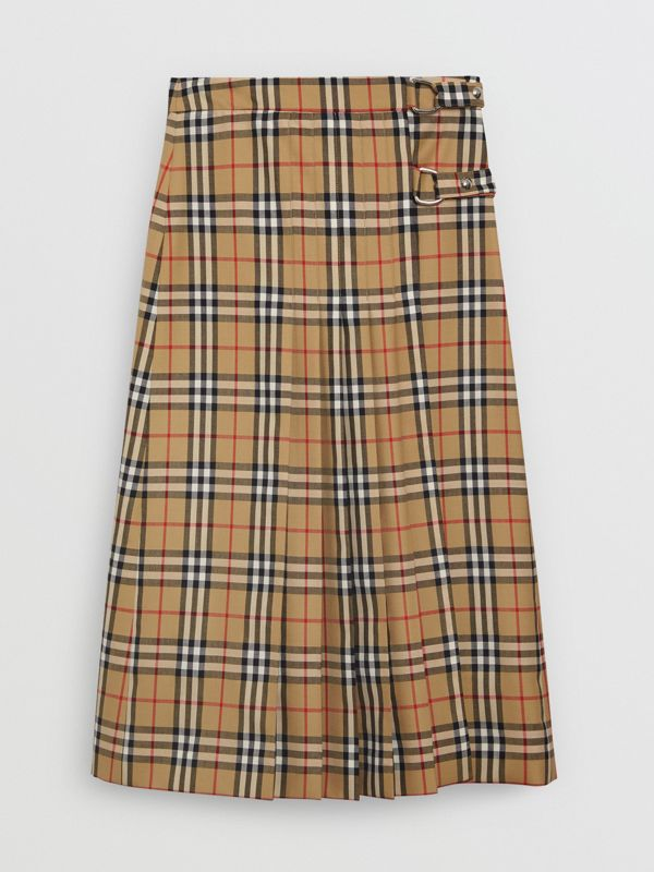 Vintage Check Wool Kilt in Antique Yellow - Women | Burberry - cell image 3