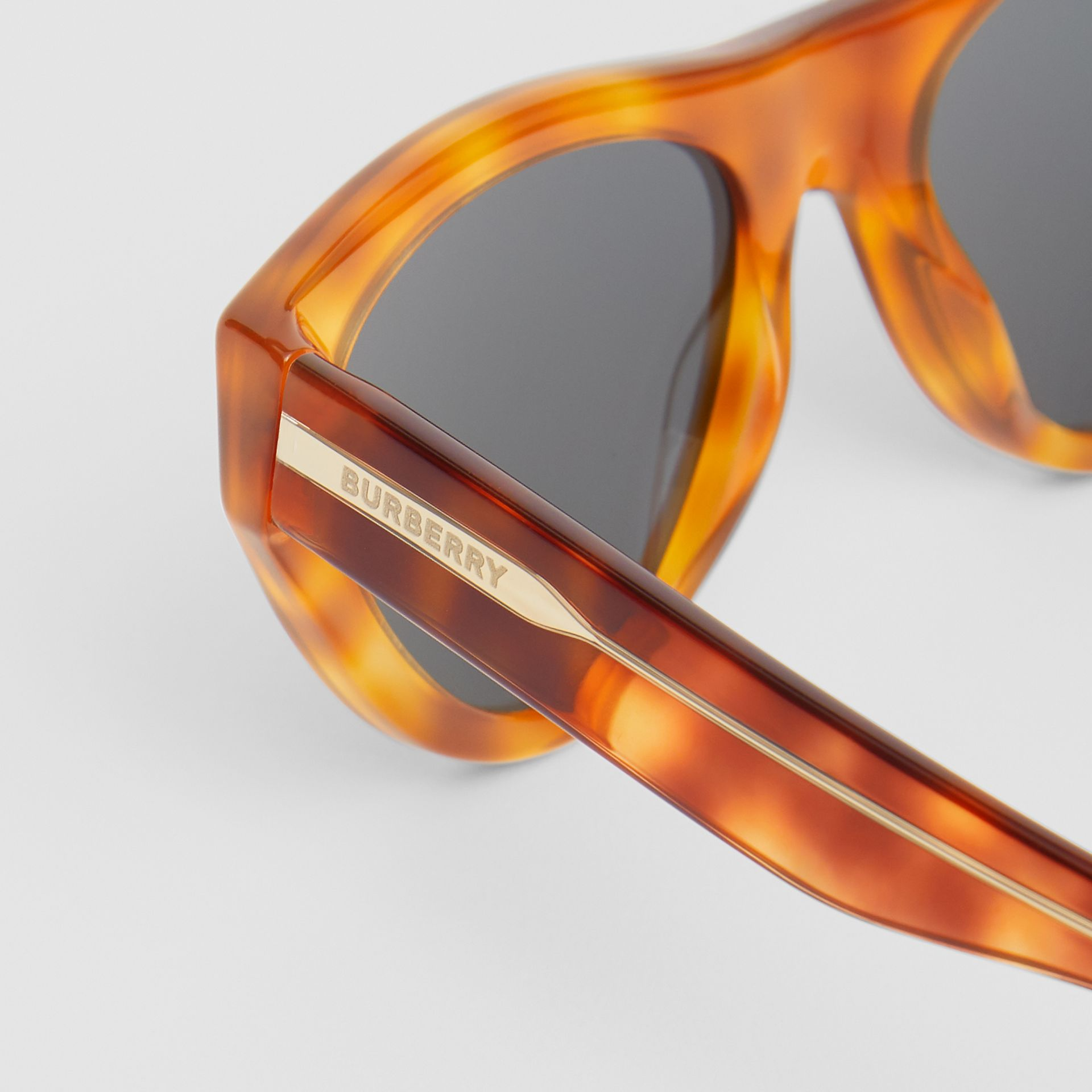 Triangular Frame Sunglasses in Amber Tortoiseshell - Women | Burberry - gallery image 1