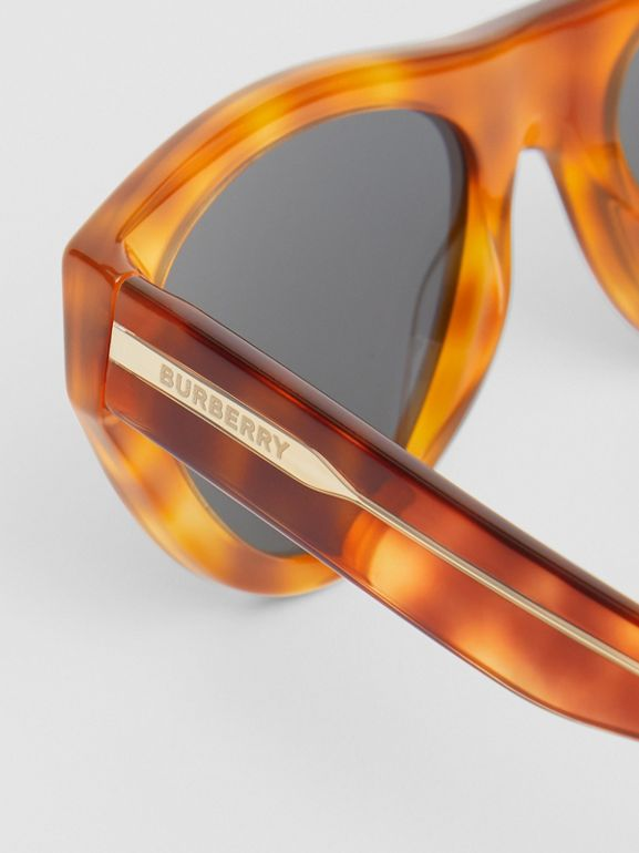 Triangular Frame Sunglasses in Amber Tortoiseshell - Women | Burberry - cell image 1