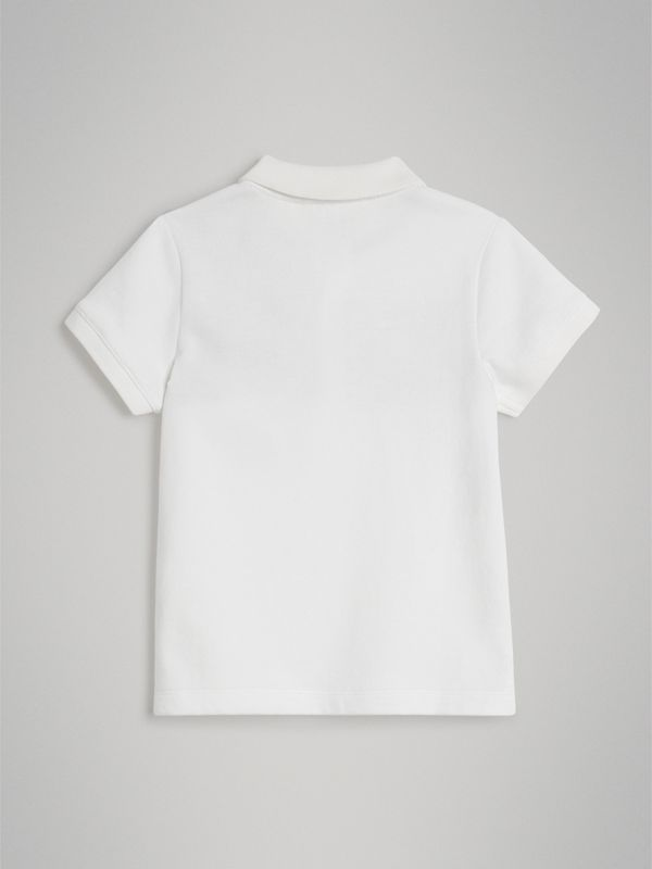Vintage Check Panel Cotton Polo Shirt in White | Burberry Singapore - cell image 3