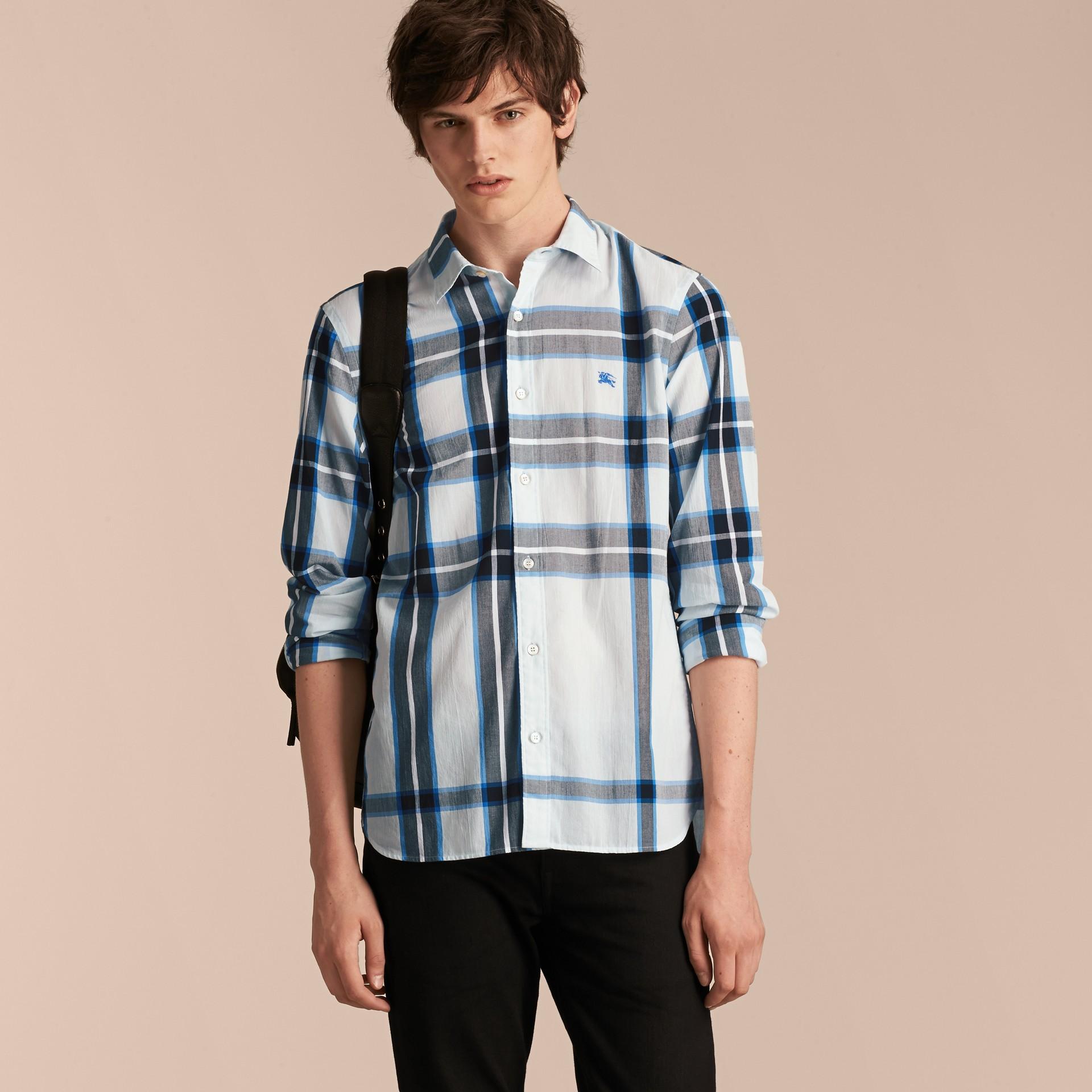 Check Cotton Shirt Light Blue - gallery image 6