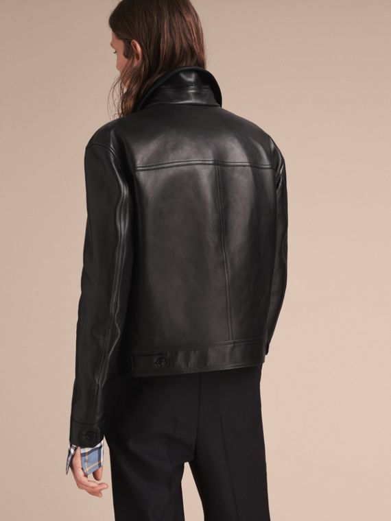 Leather Trucker Jacket with Pallas Heads Print Lining in Black - Men | Burberry - cell image 2