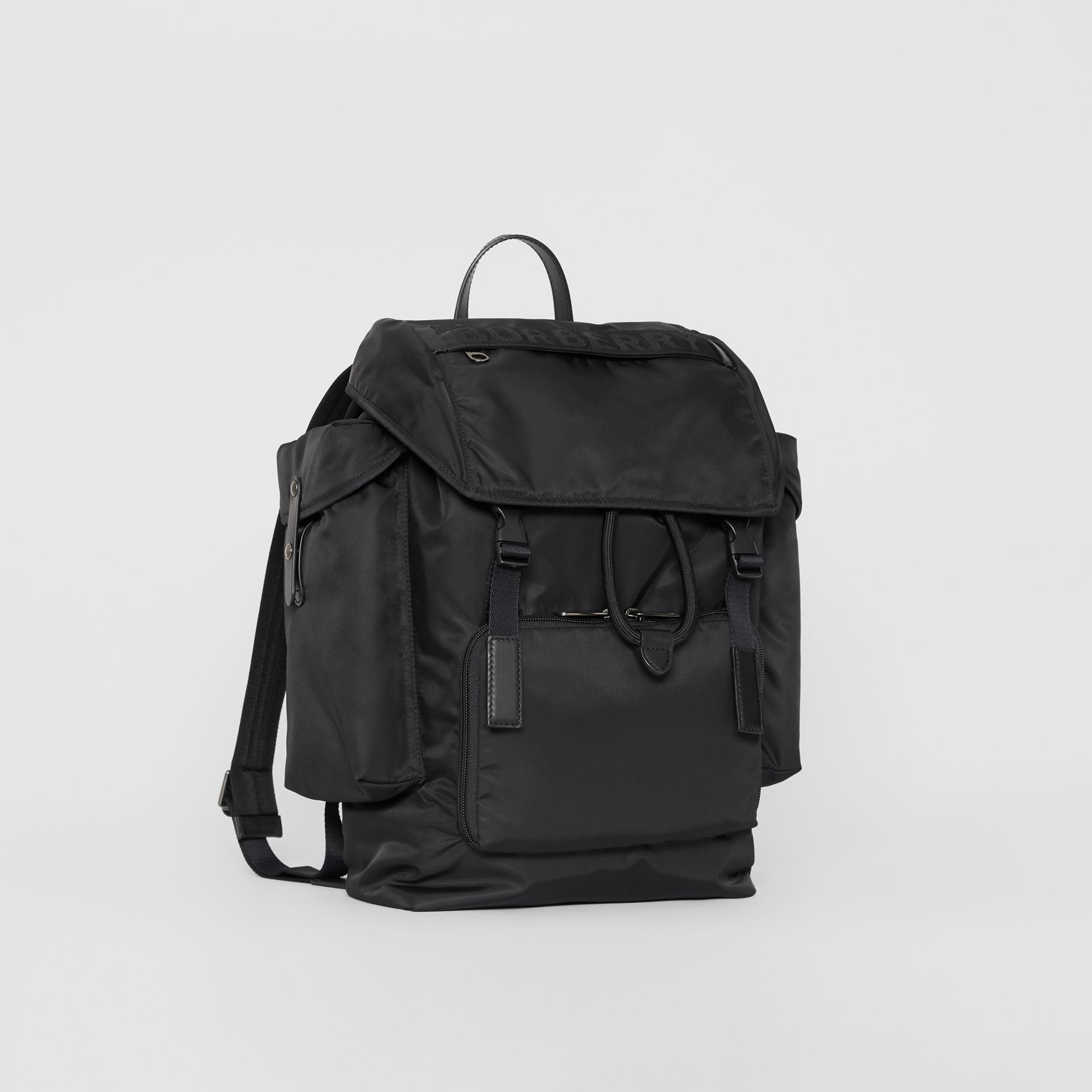 Medium Leather Trim Nylon Backpack in Black | Burberry Australia - gallery image 3