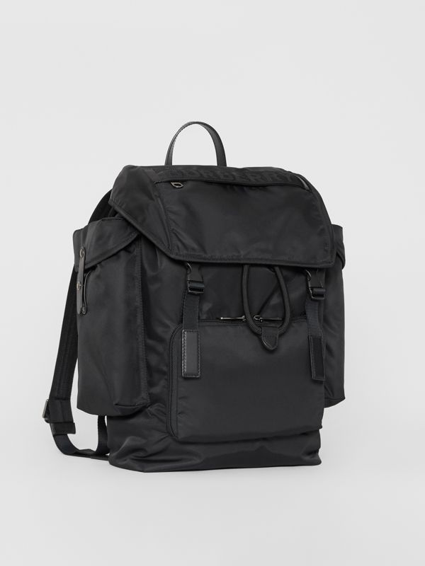 Medium Leather Trim Nylon Backpack in Black | Burberry - cell image 3